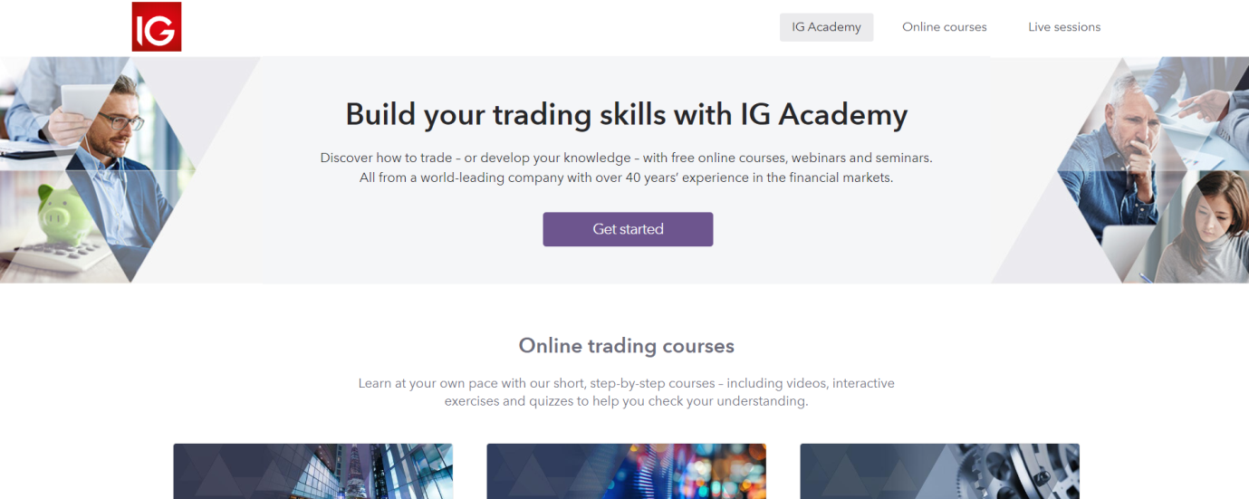 IG Broker Trading educational features