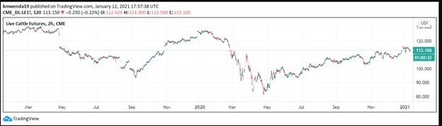 Live Cattle Futures chart Technical analysis